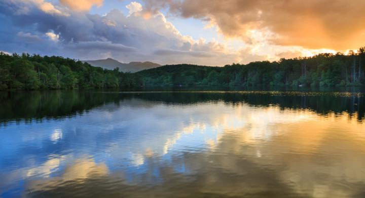 clouds reflection Price Lake Western North Carolina
