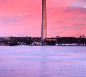 Washington Monument sunrise icy Potomac River Tidal Basin