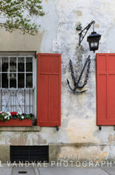 Red window shutters Charleston South Carolina