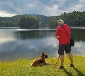 man, dog, Bass Lake