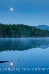 moonlight, Price Lake, fog, blue hour, NC
