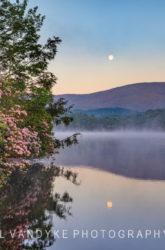Price Lake, NC, moon, fog,